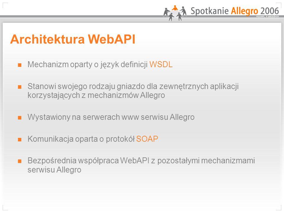 Architektura WebAPI Mechanizm oparty o język definicji WSDL