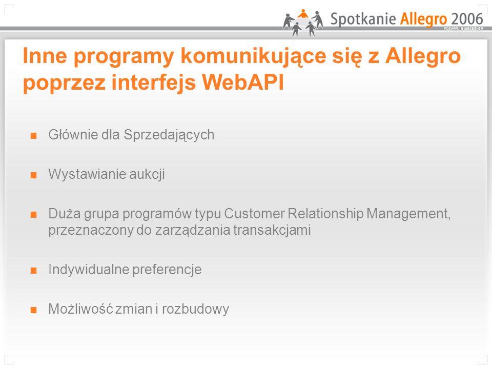 Inne programy komunikujące się z Allegro poprzez interfejs WebAPI