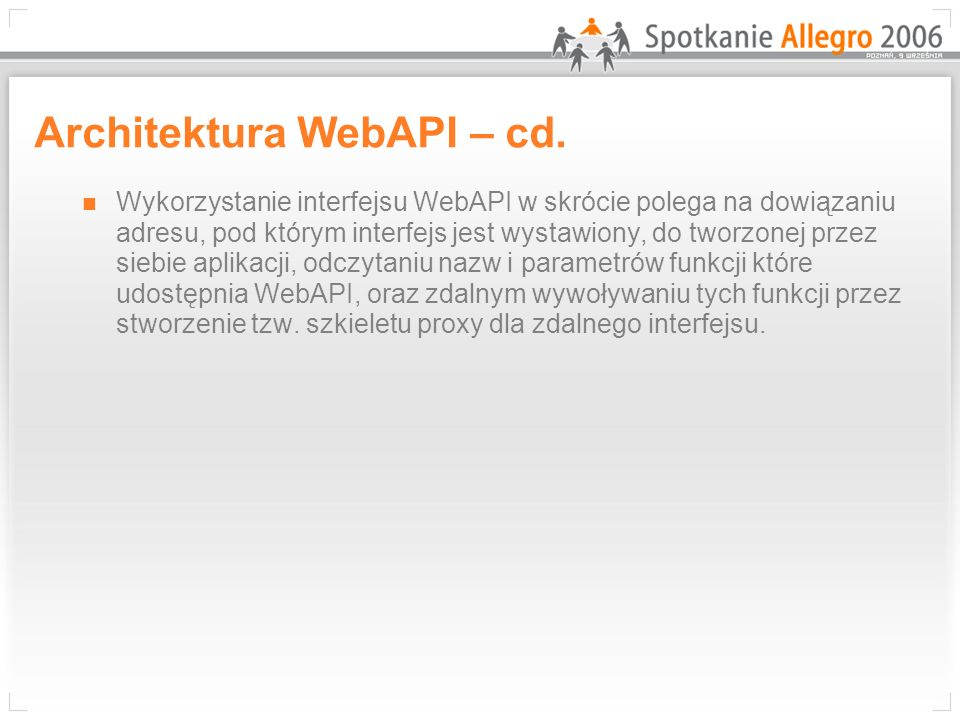 Architektura WebAPI – cd.