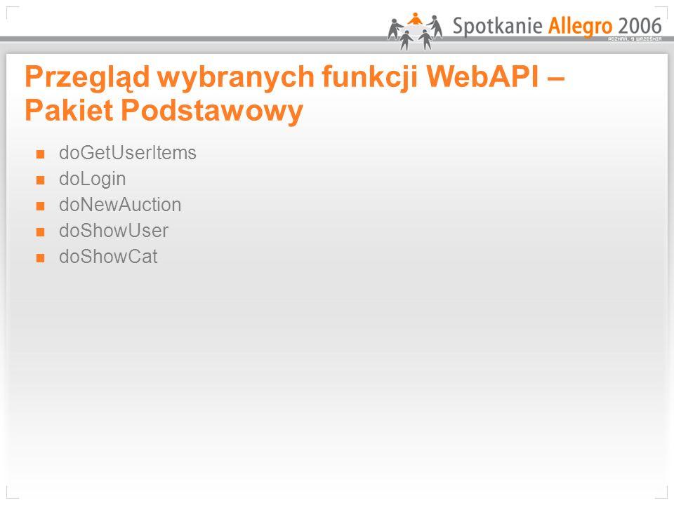 Przegląd wybranych funkcji WebAPI – Pakiet Podstawowy
