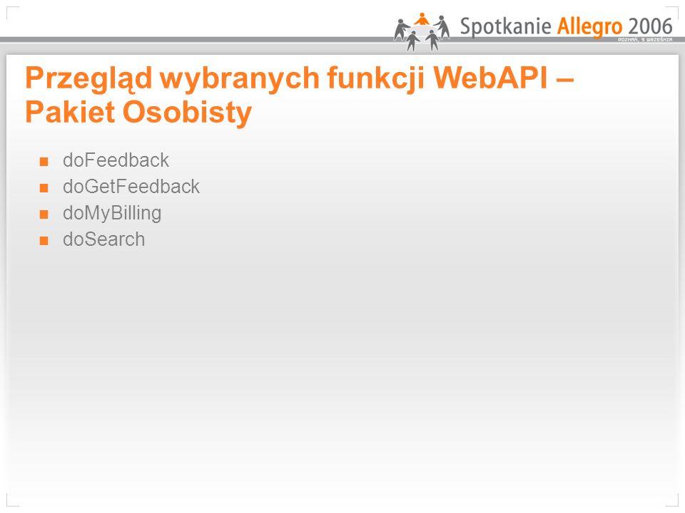 Przegląd wybranych funkcji WebAPI – Pakiet Osobisty