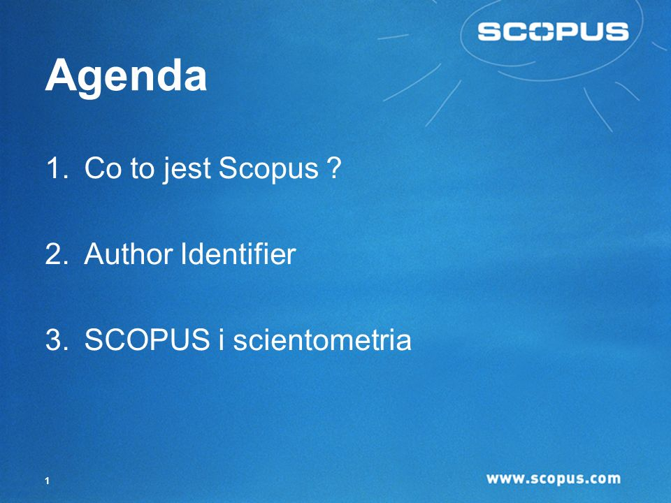 Agenda Co to jest Scopus Author Identifier SCOPUS i scientometria