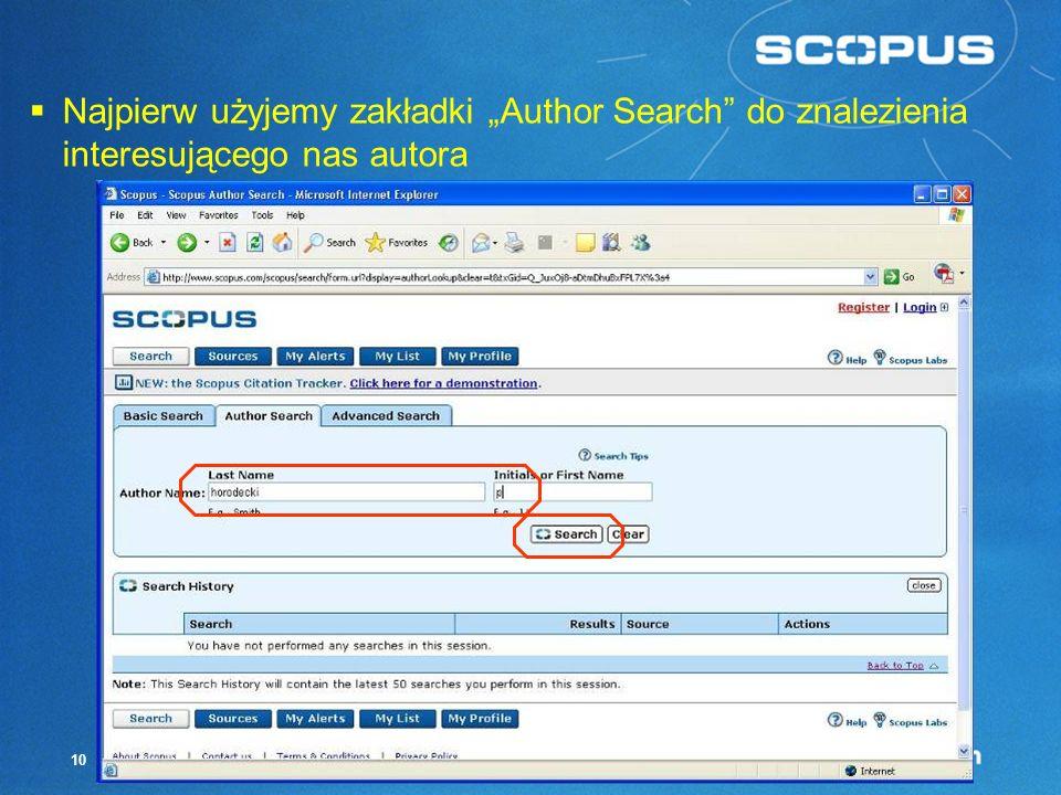 """Najpierw użyjemy zakładki """"Author Search do znalezienia interesującego nas autora"""