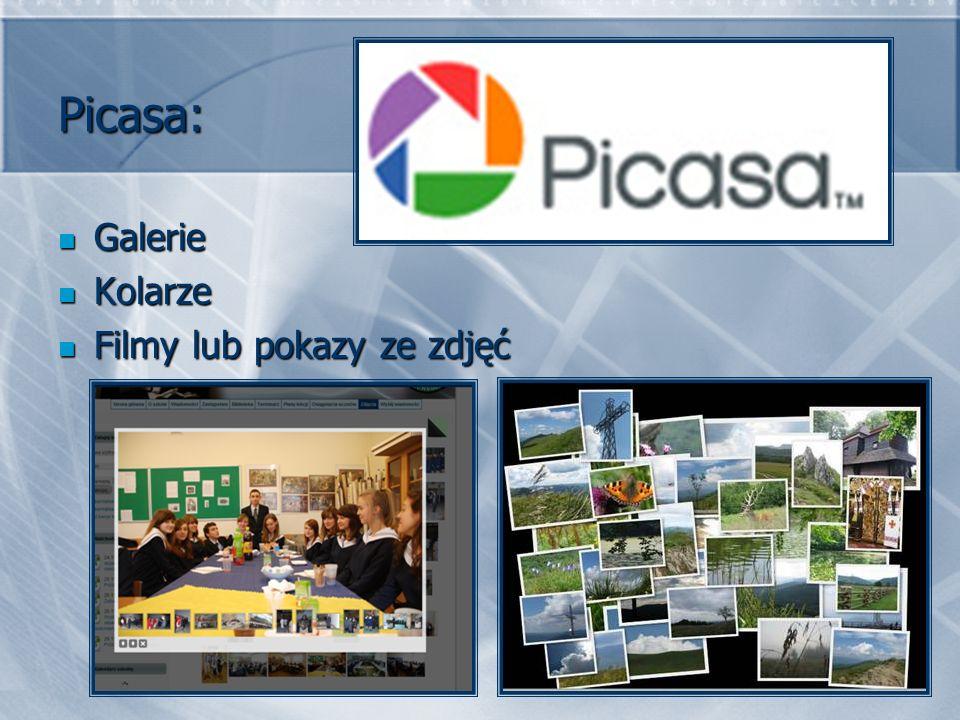 Picasa: Galerie Kolarze Filmy lub pokazy ze zdjęć