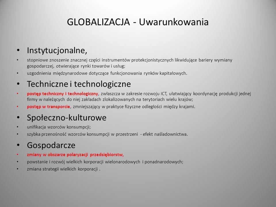 GLOBALIZACJA - Uwarunkowania