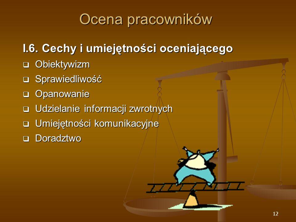 Ocena pracowników I.6. Cechy i umiejętności oceniającego Obiektywizm
