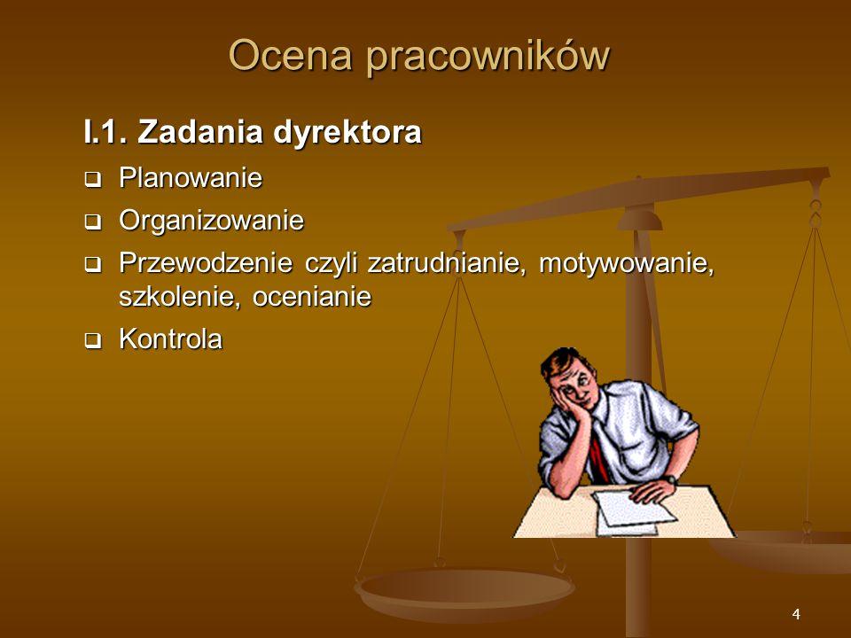 Ocena pracowników I.1. Zadania dyrektora Planowanie Organizowanie
