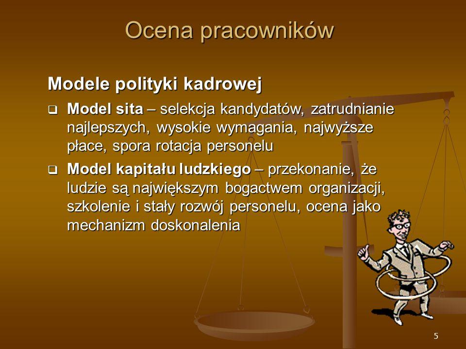 Ocena pracowników Modele polityki kadrowej