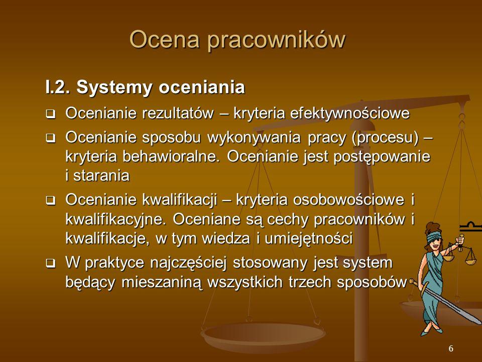Ocena pracowników I.2. Systemy oceniania