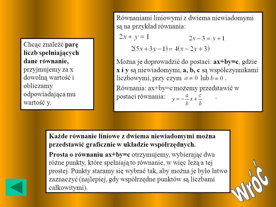 Równaniami liniowymi z dwiema niewiadomymi są na przykład równania: