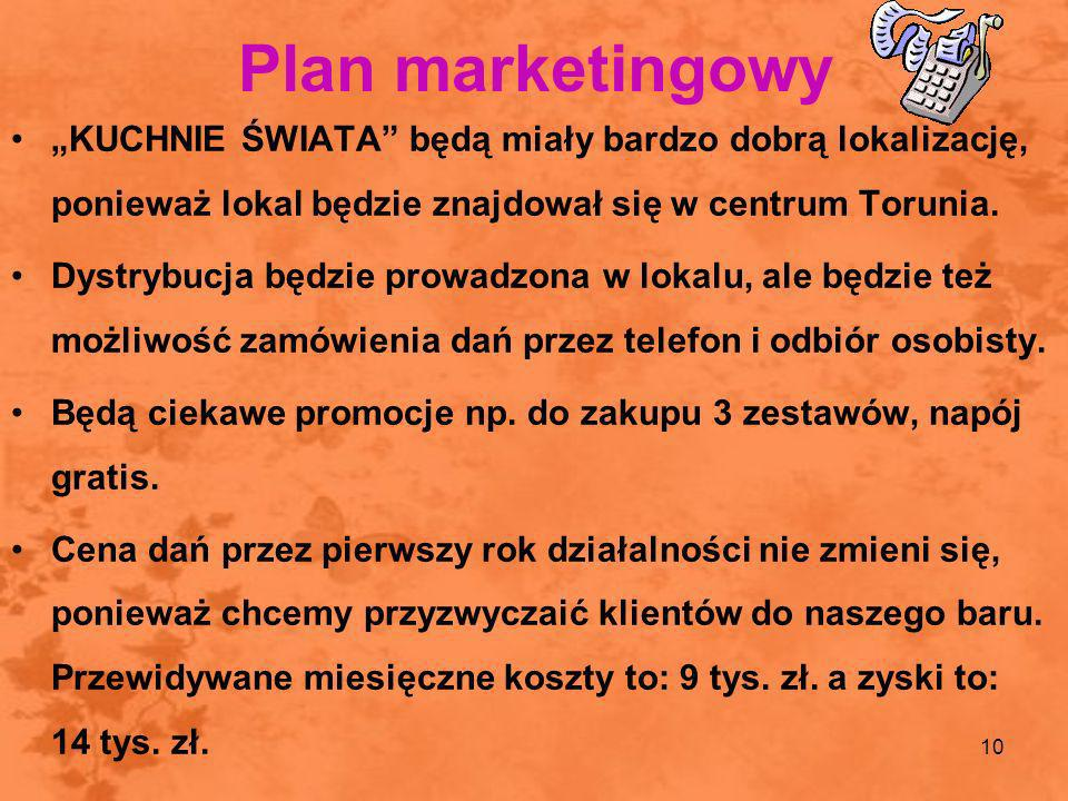 """Plan marketingowy""""KUCHNIE ŚWIATA będą miały bardzo dobrą lokalizację, ponieważ lokal będzie znajdował się w centrum Torunia."""