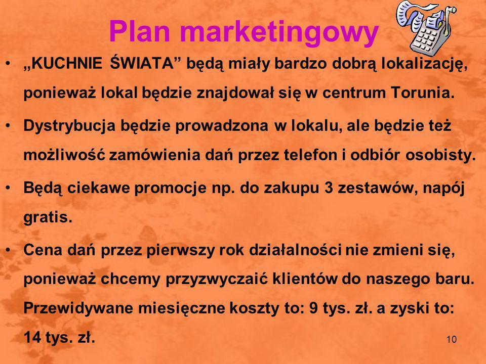 """Plan marketingowy """"KUCHNIE ŚWIATA będą miały bardzo dobrą lokalizację, ponieważ lokal będzie znajdował się w centrum Torunia."""