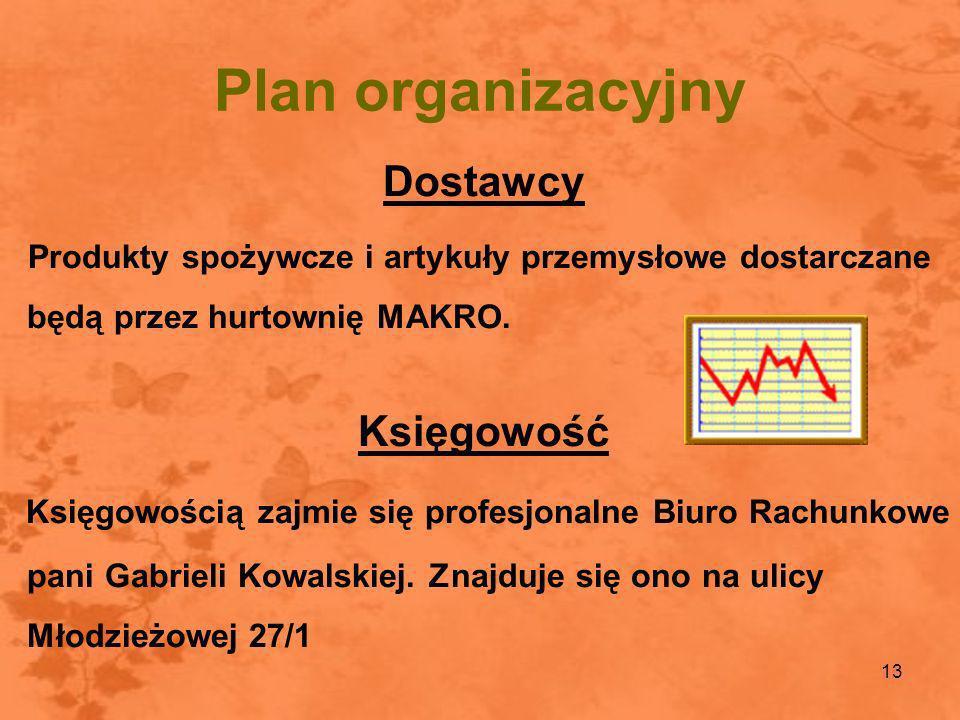 Plan organizacyjny Dostawcy Księgowość