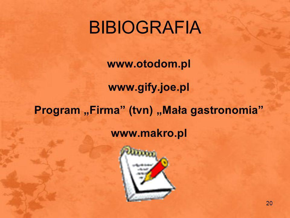 """Program """"Firma (tvn) """"Mała gastronomia"""