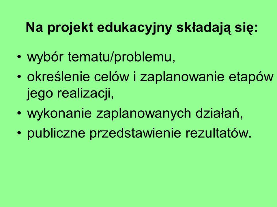 Na projekt edukacyjny składają się:
