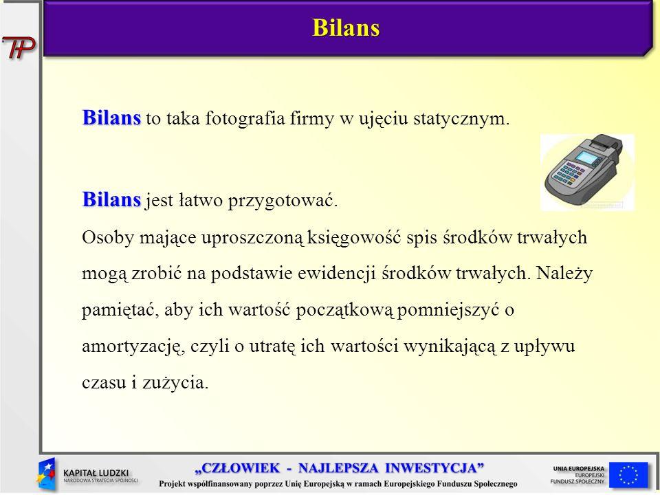 Bilans Bilans to taka fotografia firmy w ujęciu statycznym.