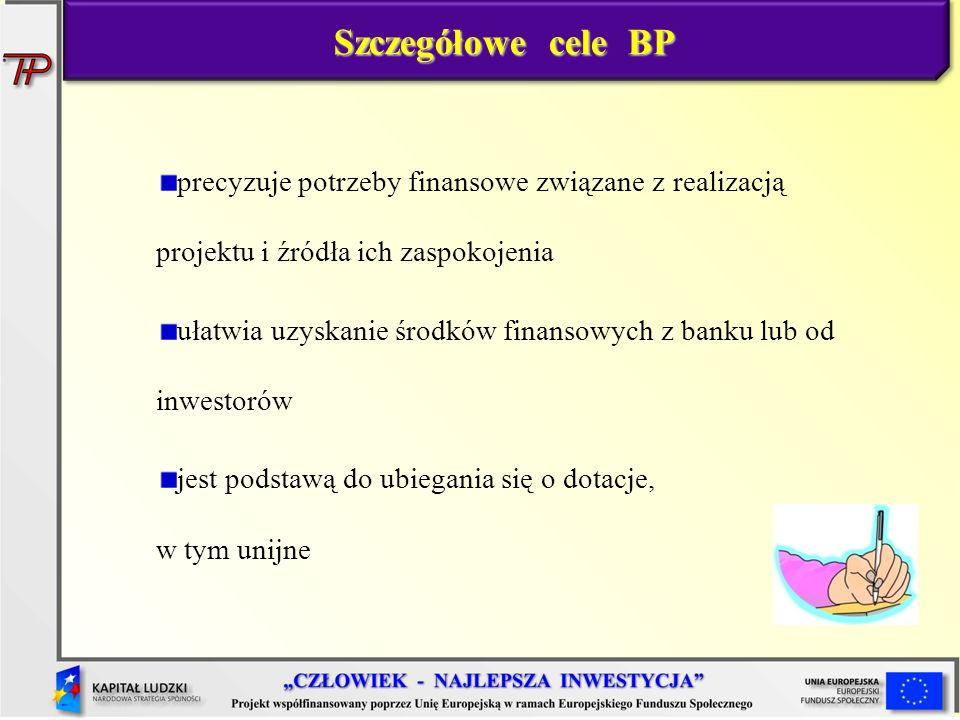 Szczegółowe cele BP precyzuje potrzeby finansowe związane z realizacją projektu i źródła ich zaspokojenia.