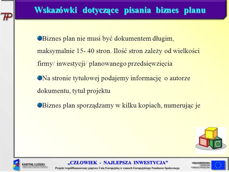 Wskazówki dotyczące pisania biznes planu
