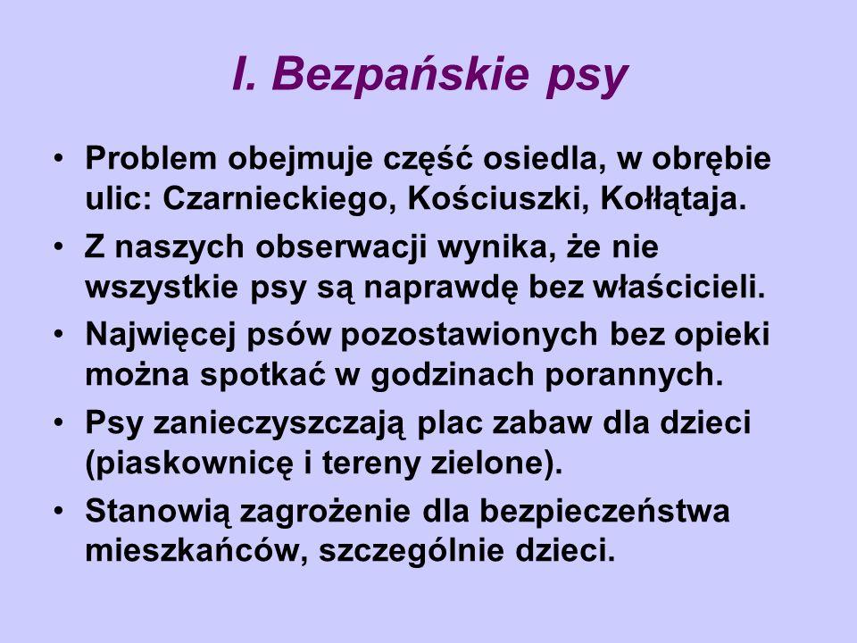I. Bezpańskie psyProblem obejmuje część osiedla, w obrębie ulic: Czarnieckiego, Kościuszki, Kołłątaja.