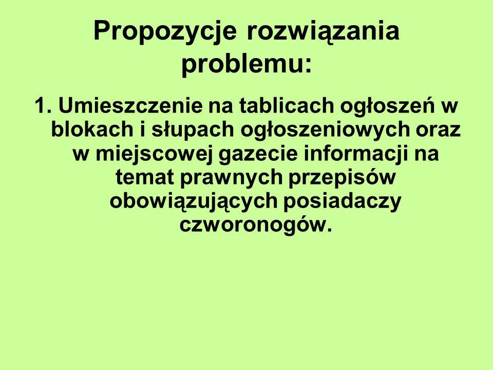 Propozycje rozwiązania problemu: