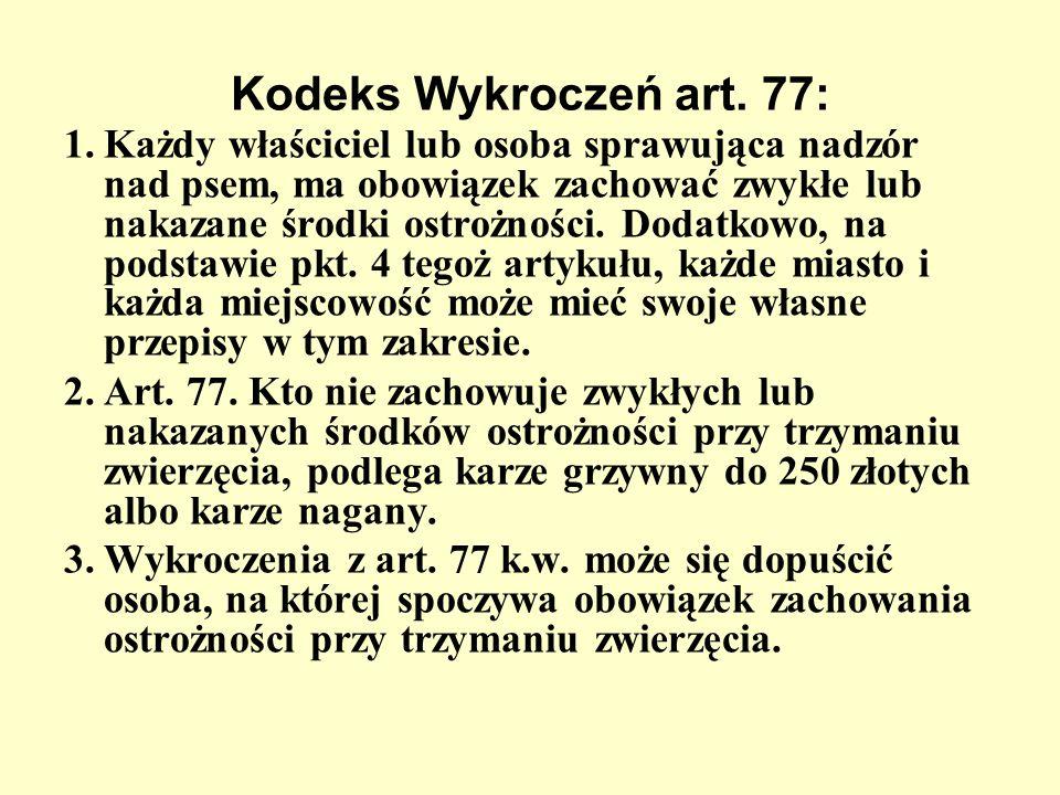 Kodeks Wykroczeń art. 77: