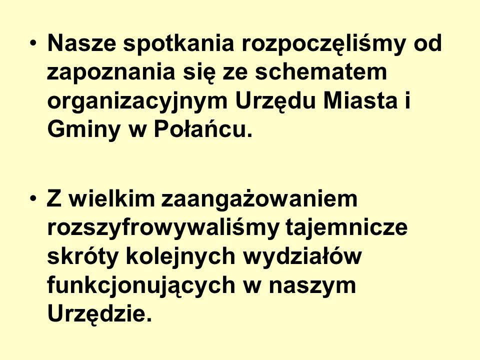 Nasze spotkania rozpoczęliśmy od zapoznania się ze schematem organizacyjnym Urzędu Miasta i Gminy w Połańcu.