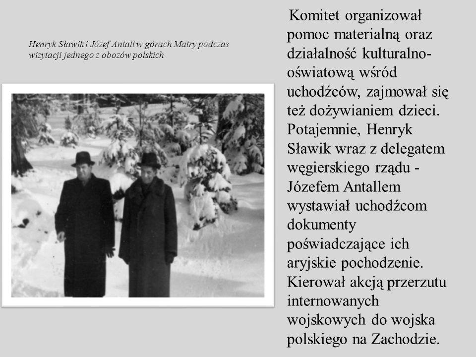 Komitet organizował pomoc materialną oraz działalność kulturalno-oświatową wśród uchodźców, zajmował się też dożywianiem dzieci. Potajemnie, Henryk Sławik wraz z delegatem węgierskiego rządu - Józefem Antallem wystawiał uchodźcom dokumenty poświadczające ich aryjskie pochodzenie. Kierował akcją przerzutu internowanych wojskowych do wojska polskiego na Zachodzie.