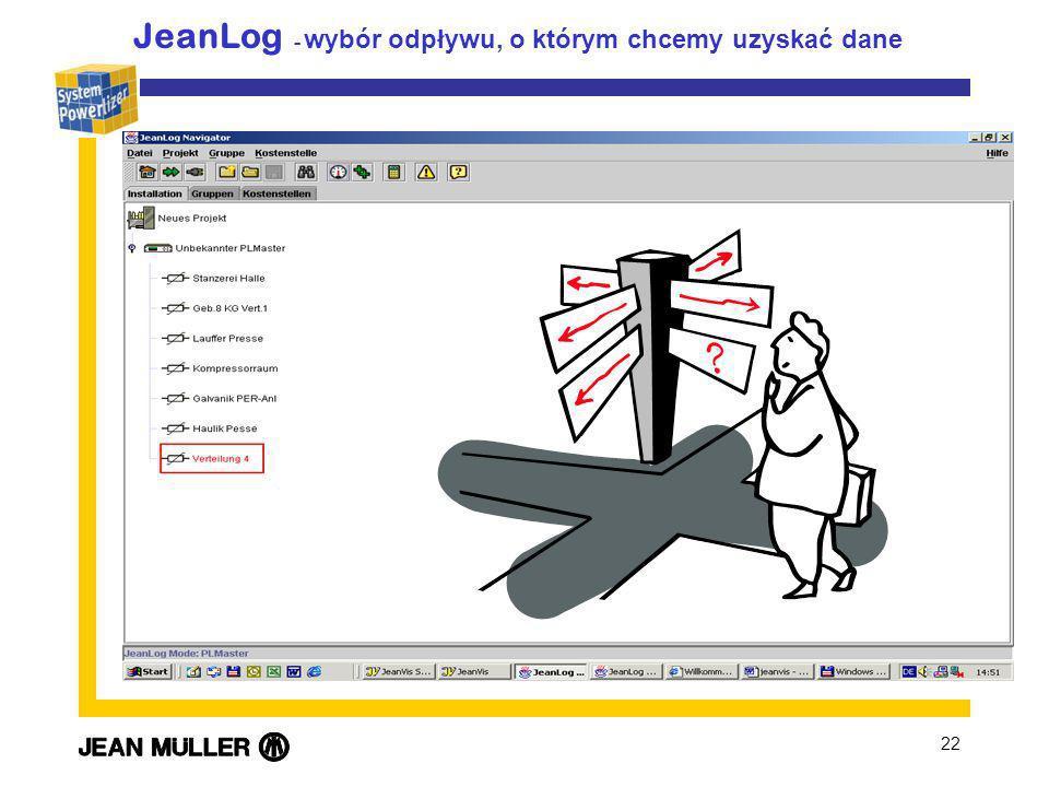 JeanLog - wybór odpływu, o którym chcemy uzyskać dane