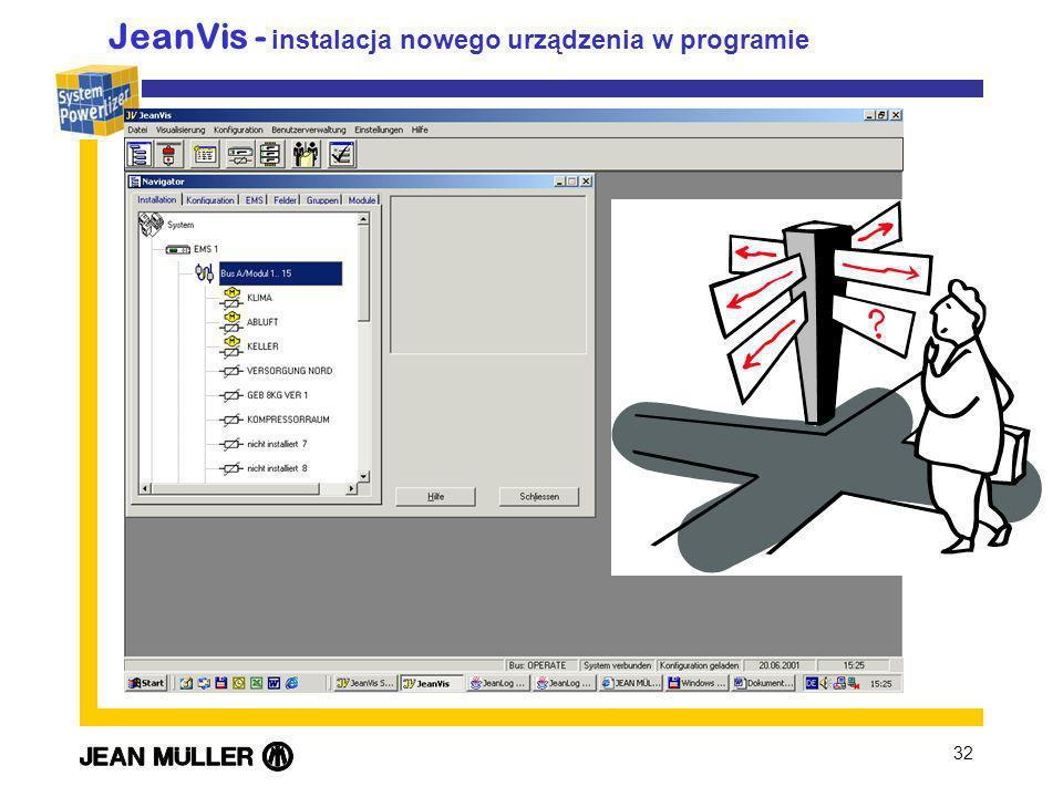 JeanVis - instalacja nowego urządzenia w programie
