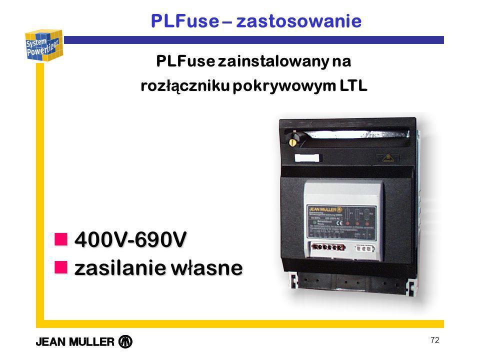 PLFuse zainstalowany na rozłączniku pokrywowym LTL