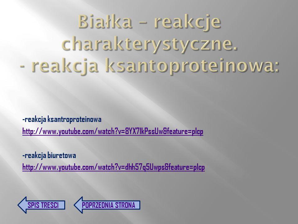 Białka – reakcje charakterystyczne. - reakcja ksantoproteinowa:
