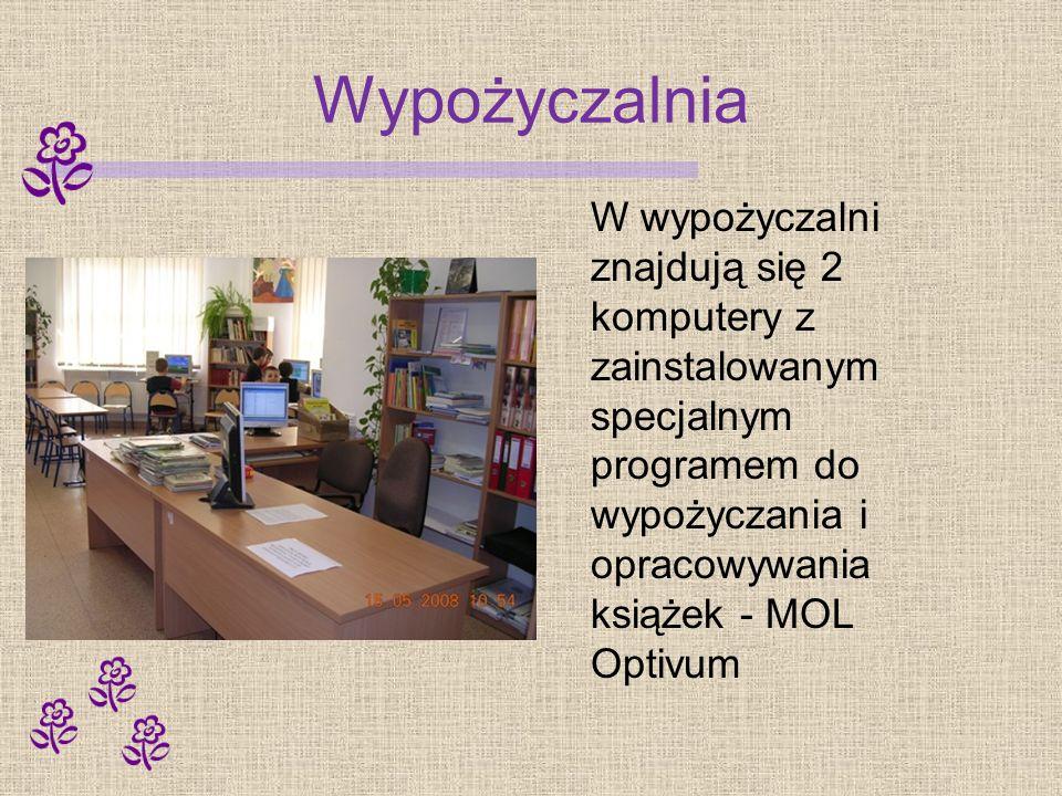Wypożyczalnia W wypożyczalni znajdują się 2 komputery z zainstalowanym specjalnym programem do wypożyczania i opracowywania książek - MOL Optivum.