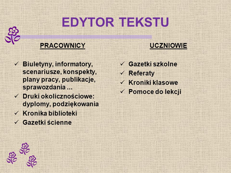 EDYTOR TEKSTU PRACOWNICY