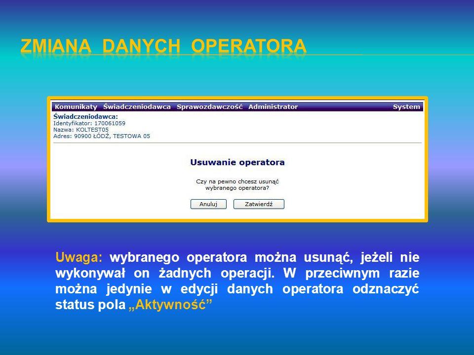 Zmiana danych operatora