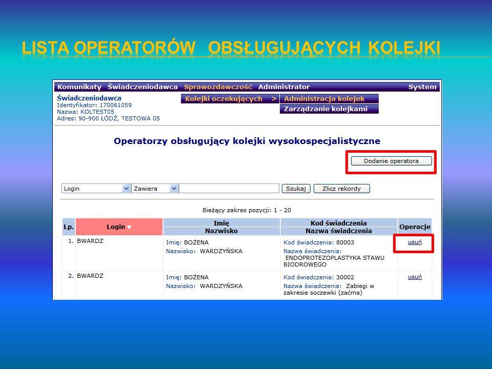 Lista operatorów obsługujących kolejki