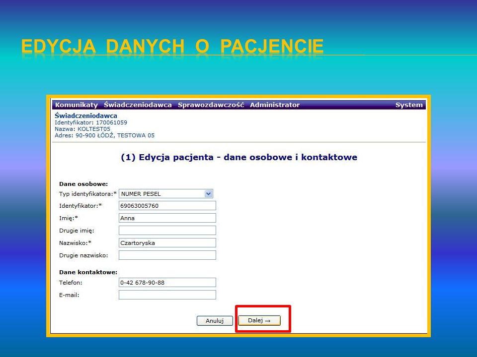 Edycja danych o pacjencie