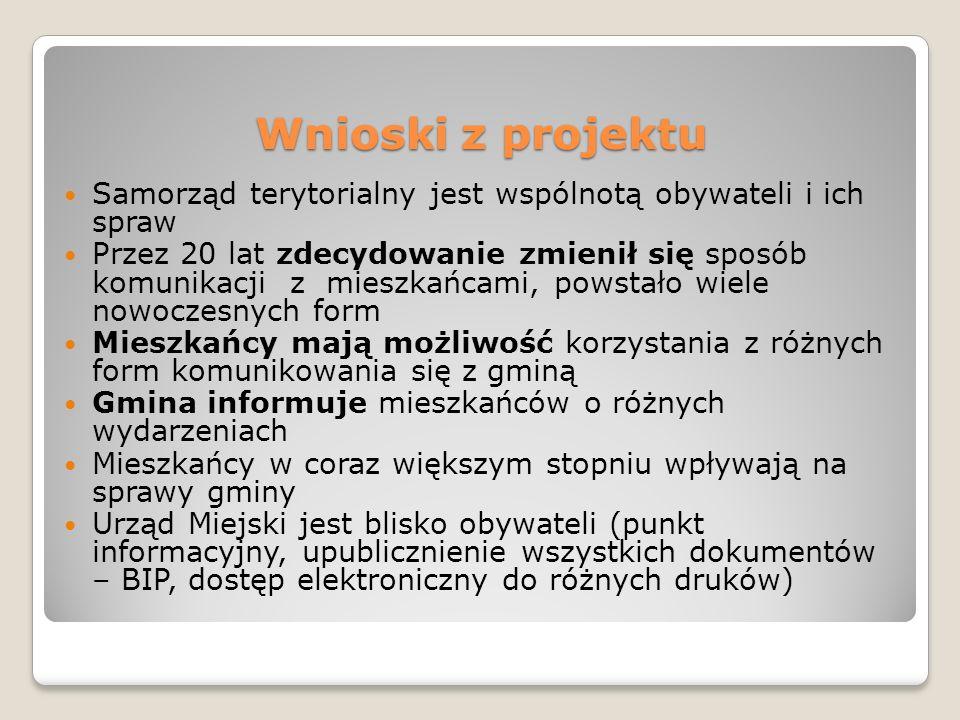 Wnioski z projektu Samorząd terytorialny jest wspólnotą obywateli i ich spraw.