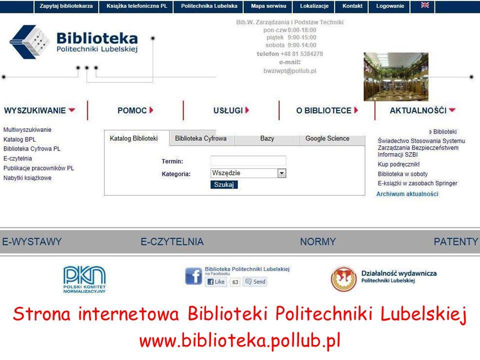 Strona internetowa Biblioteki Politechniki Lubelskiej