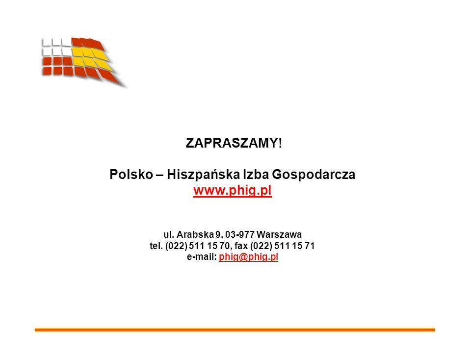 ZAPRASZAMY. Polsko – Hiszpańska Izba Gospodarcza www. phig. pl ul