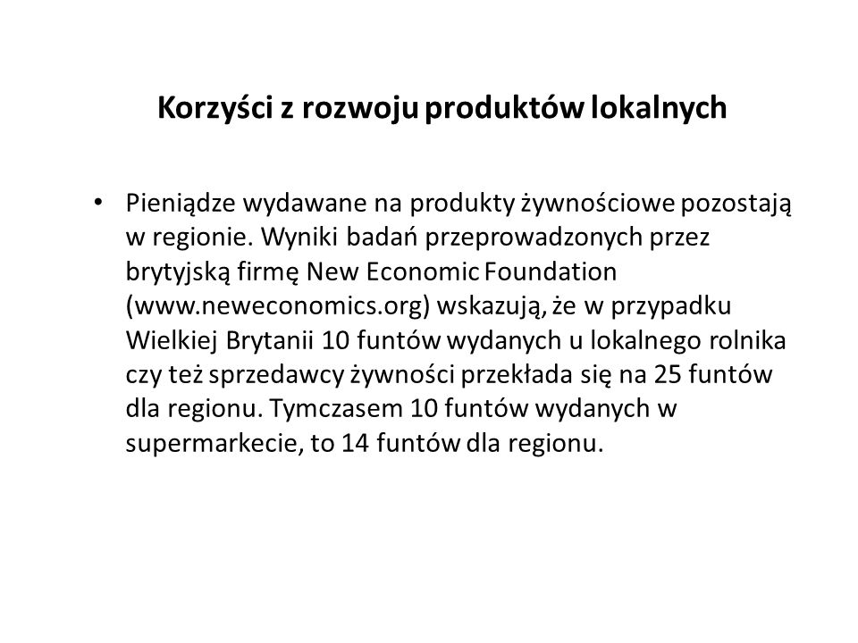 Korzyści z rozwoju produktów lokalnych