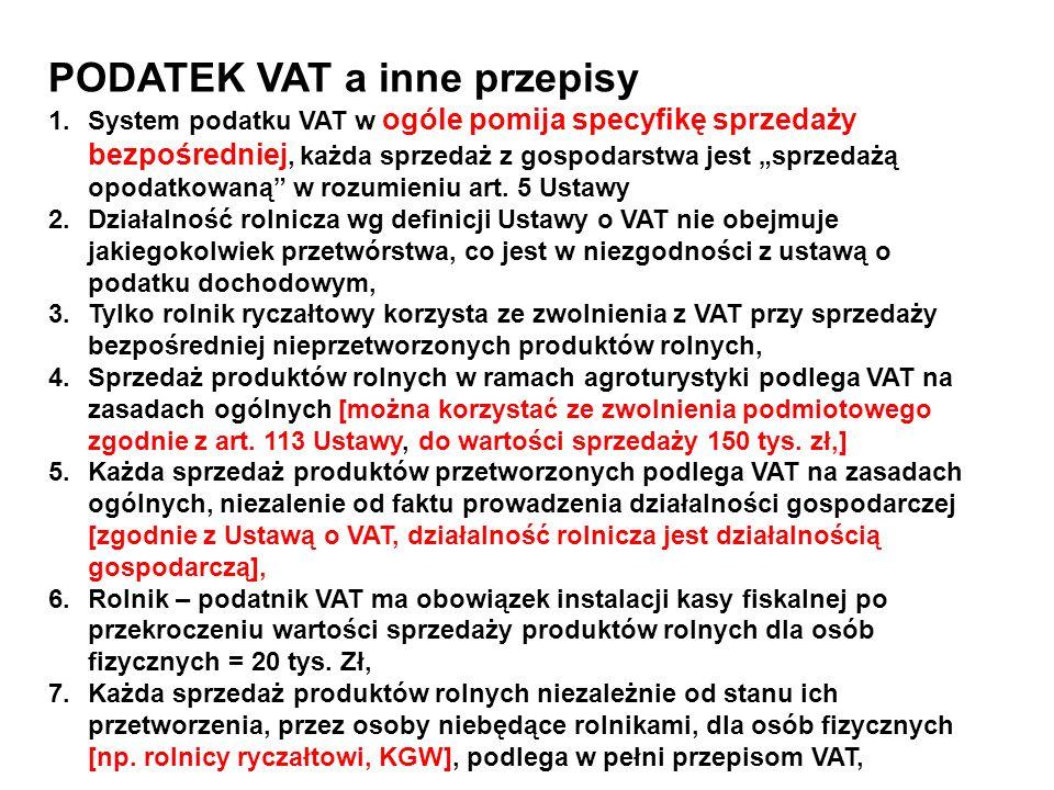 PODATEK VAT a inne przepisy