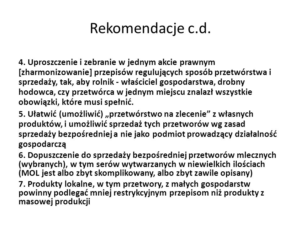 Rekomendacje c.d.