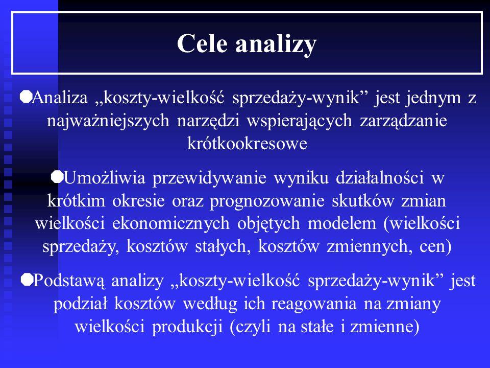 """Cele analizy Analiza """"koszty-wielkość sprzedaży-wynik jest jednym z najważniejszych narzędzi wspierających zarządzanie krótkookresowe."""