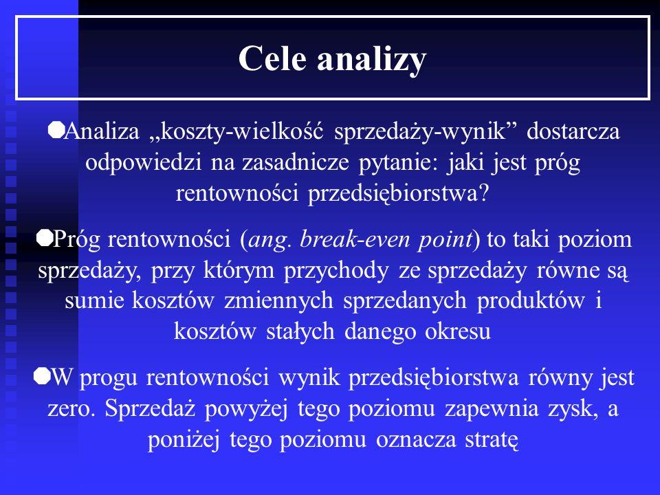"""Cele analizy Analiza """"koszty-wielkość sprzedaży-wynik dostarcza odpowiedzi na zasadnicze pytanie: jaki jest próg rentowności przedsiębiorstwa"""