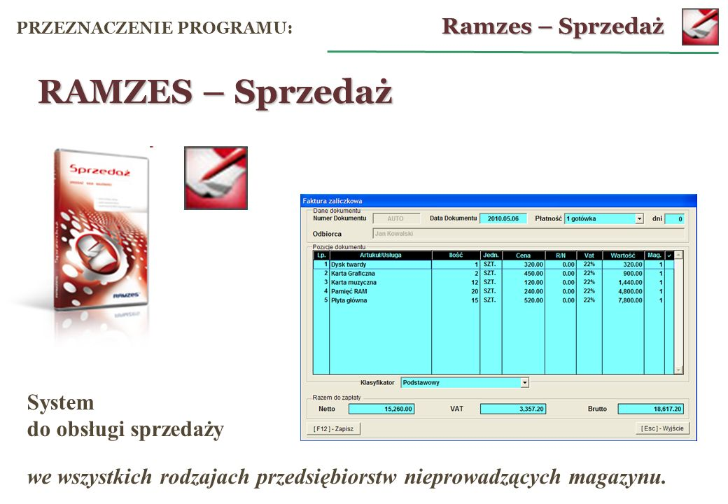 RAMZES – Sprzedaż Ramzes – Sprzedaż System do obsługi sprzedaży