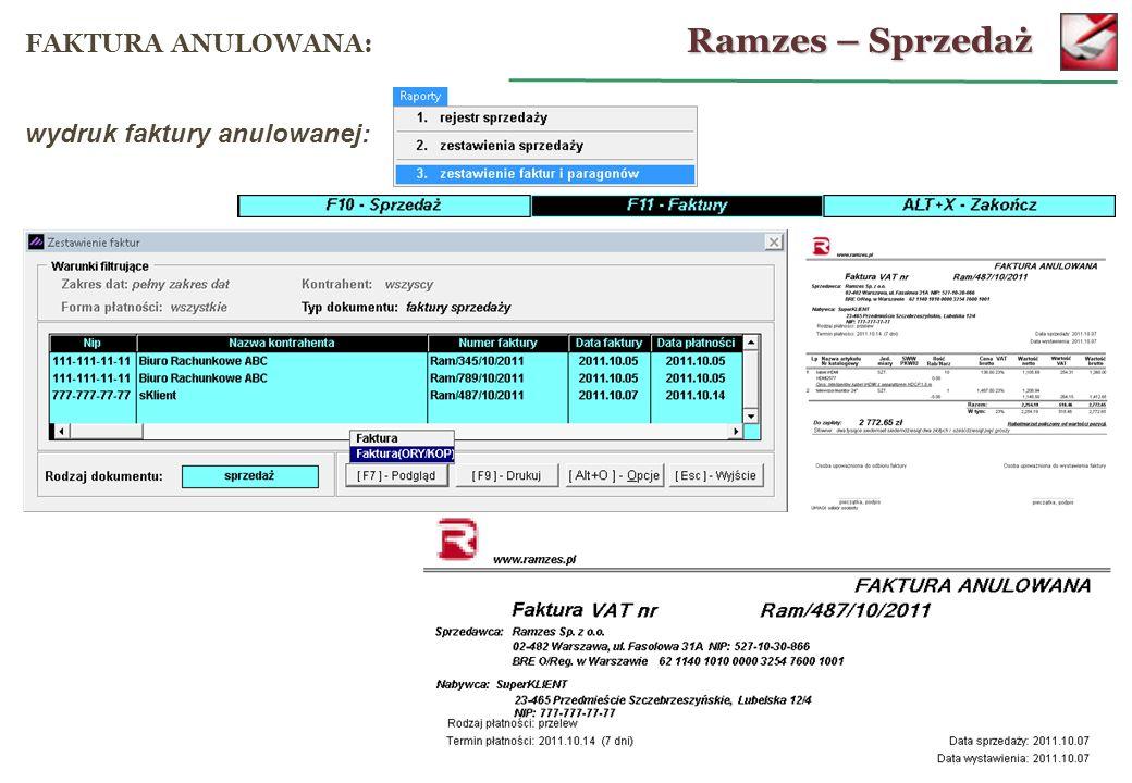 Ramzes – Sprzedaż FAKTURA ANULOWANA: wydruk faktury anulowanej: 35