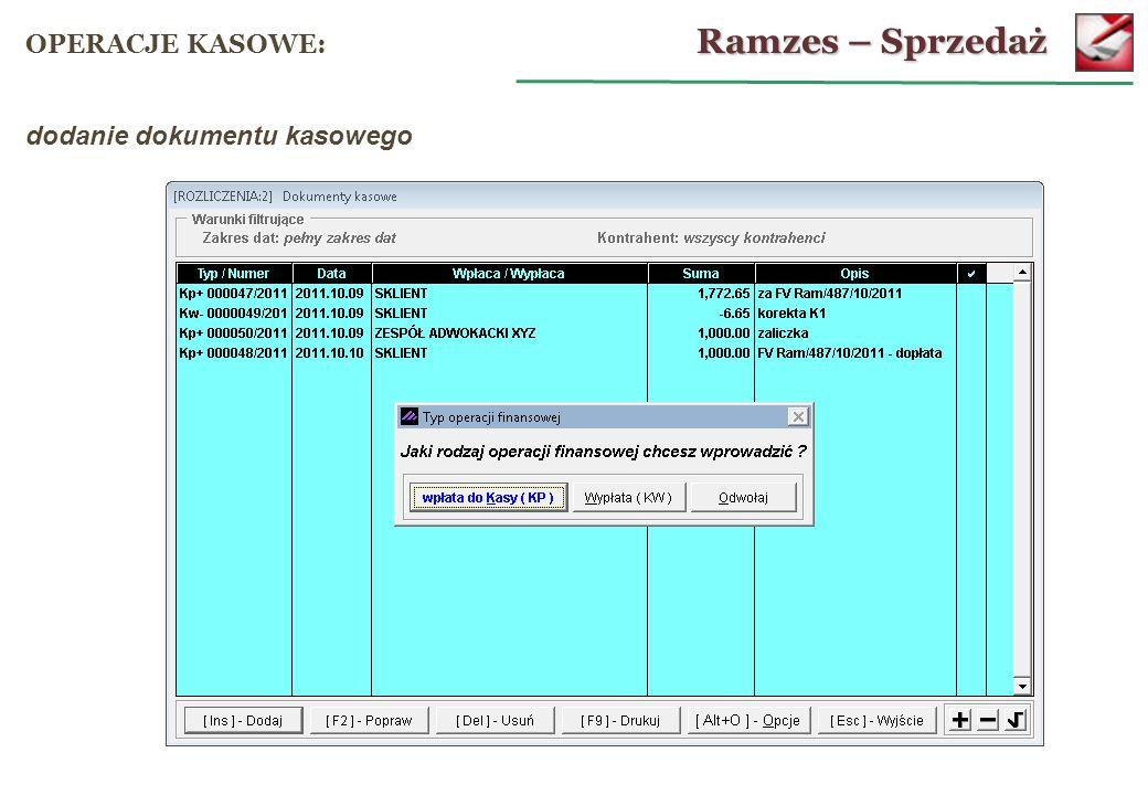 Ramzes – Sprzedaż OPERACJE KASOWE: dodanie dokumentu kasowego 61