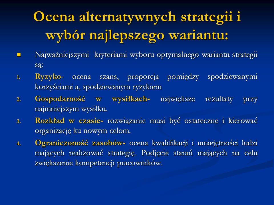Ocena alternatywnych strategii i wybór najlepszego wariantu: