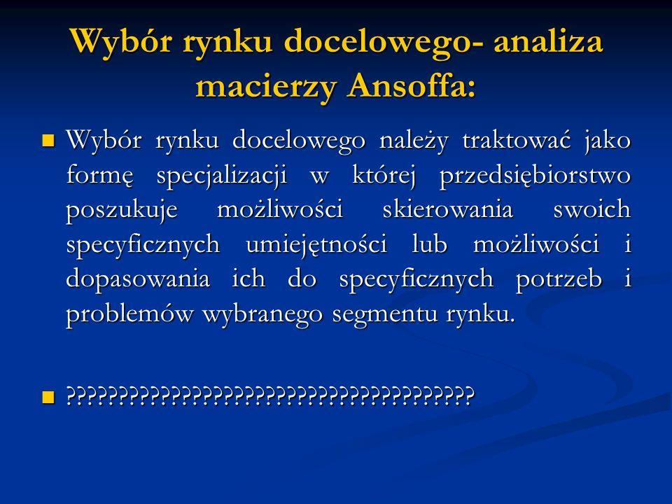 Wybór rynku docelowego- analiza macierzy Ansoffa: