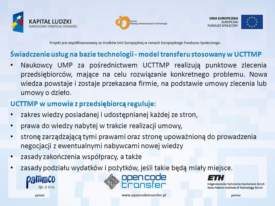 Świadczenie usług na bazie technologii - model transferu stosowany w UCTTMP